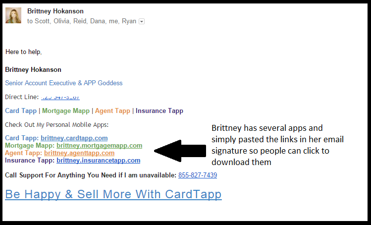 Examples Of The App Link In An Email Signature Cardtapp Portal